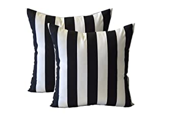 Nice Set Of 2 ~ 20u0026quot; Black And White Stripe Decorative Square Throw Toss  Pillows ~