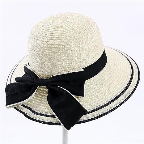 JYJSYM Mujeres del Verano Gran Alero Parasol Verano Protector Solar Anti - UV  Sombrero Sombrero de 897a3ca73ba