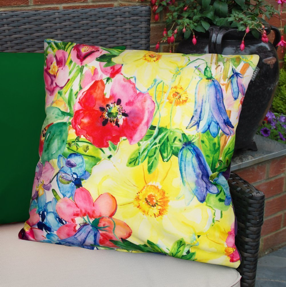 Bean Bag Bazaar Outdoor Cushion - 43cm x 43cm, Fibre Filled - Water Resistant, Weather Proof Decorative Colourful Scatter Cushions for Garden Chair, Bench, or Sofa