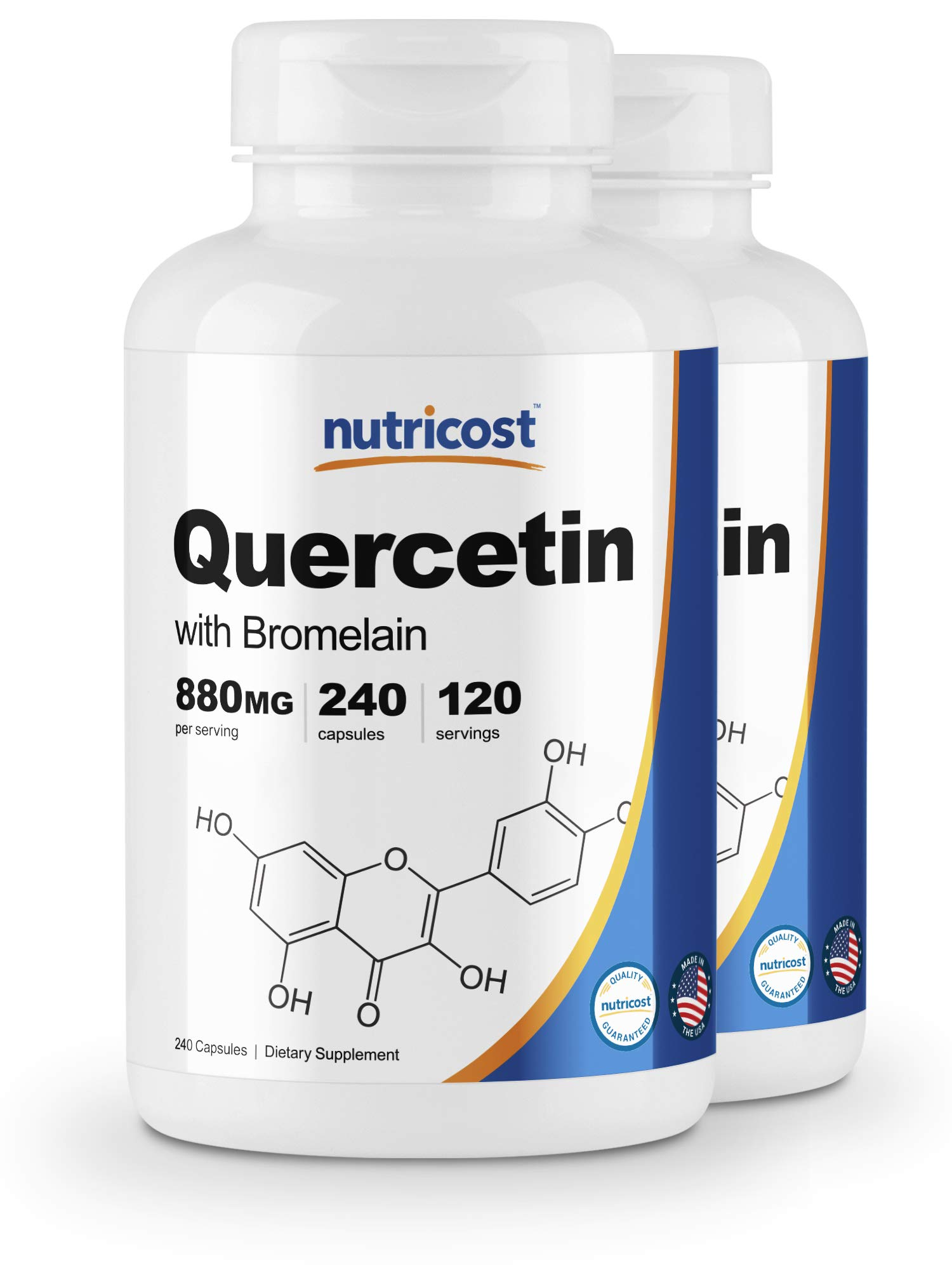 Nutricost Quercetin 880mg, 240 Caps with Bromelain (2 Bottles) by Nutricost
