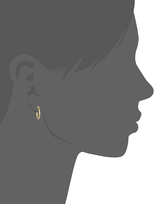 10k Yellow Gold Diamond Cut Tube Hoop Earrings