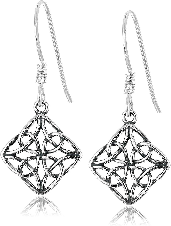 Oxidized 925 Sterling Silver Celtic Knot Diamond Shaped Drop Earrings
