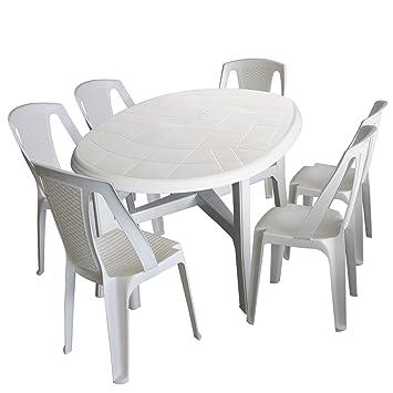 Amazonde 7tlg Gartenmöbel Set Kunststoff Weiß Gartentisch
