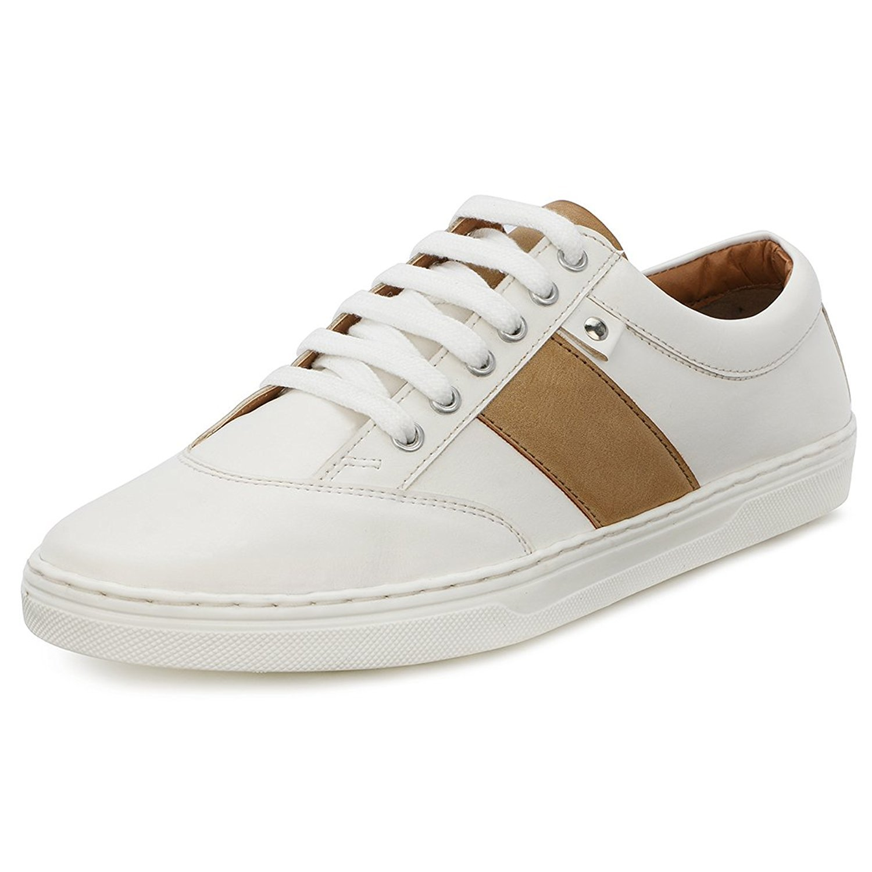 Buy Escaro Men's White Casual Sneakers