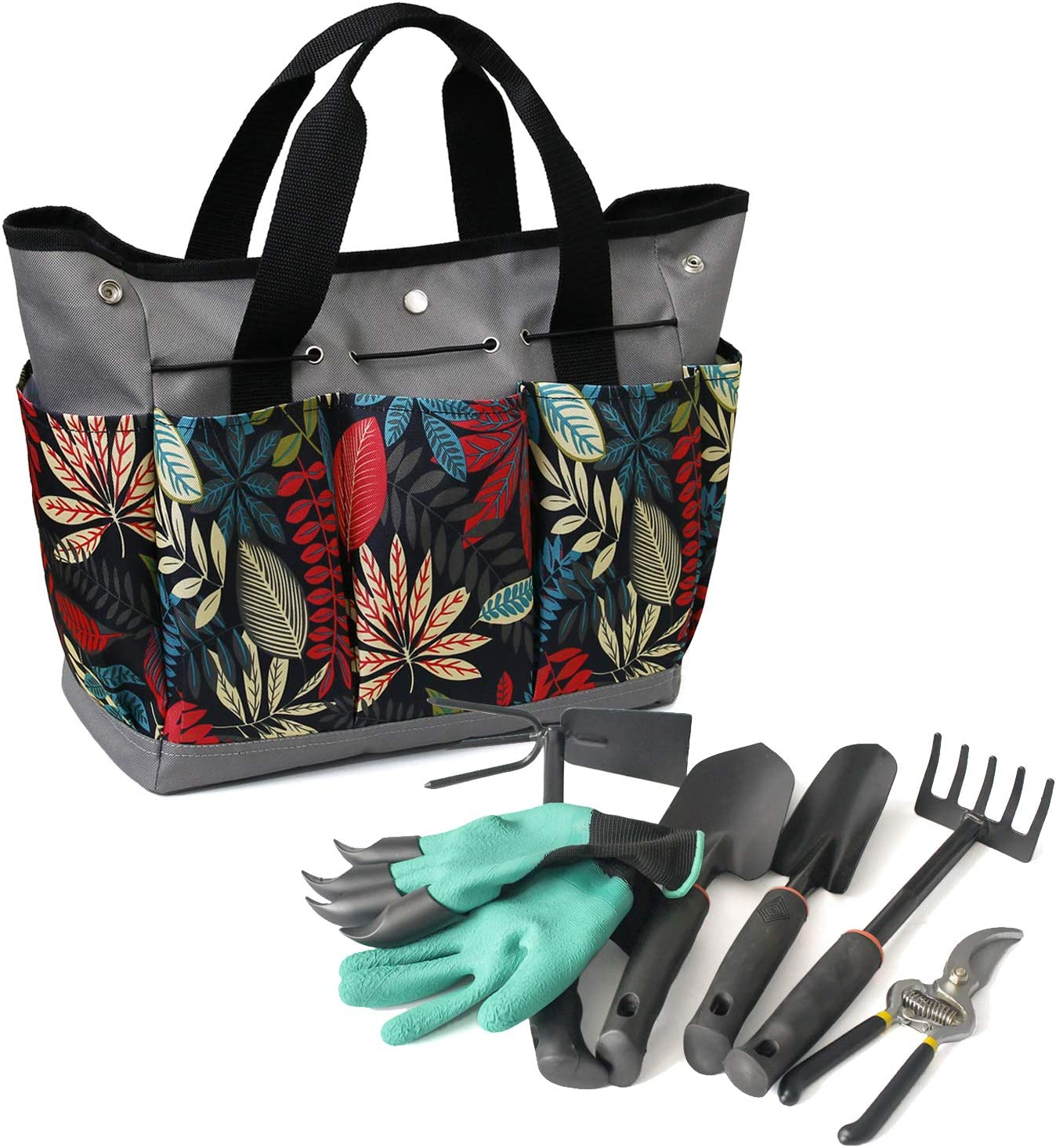 MYDAYS 7PACK Canvas Garden Tool Tote Bag, Heavy-Duty Gardening Pouch, Vegetable Herb Garden Hand Tool Storage Tote, with 8 Pockets and Leather Handle, Floral Gardening Gift, Tools Included (Grey2)