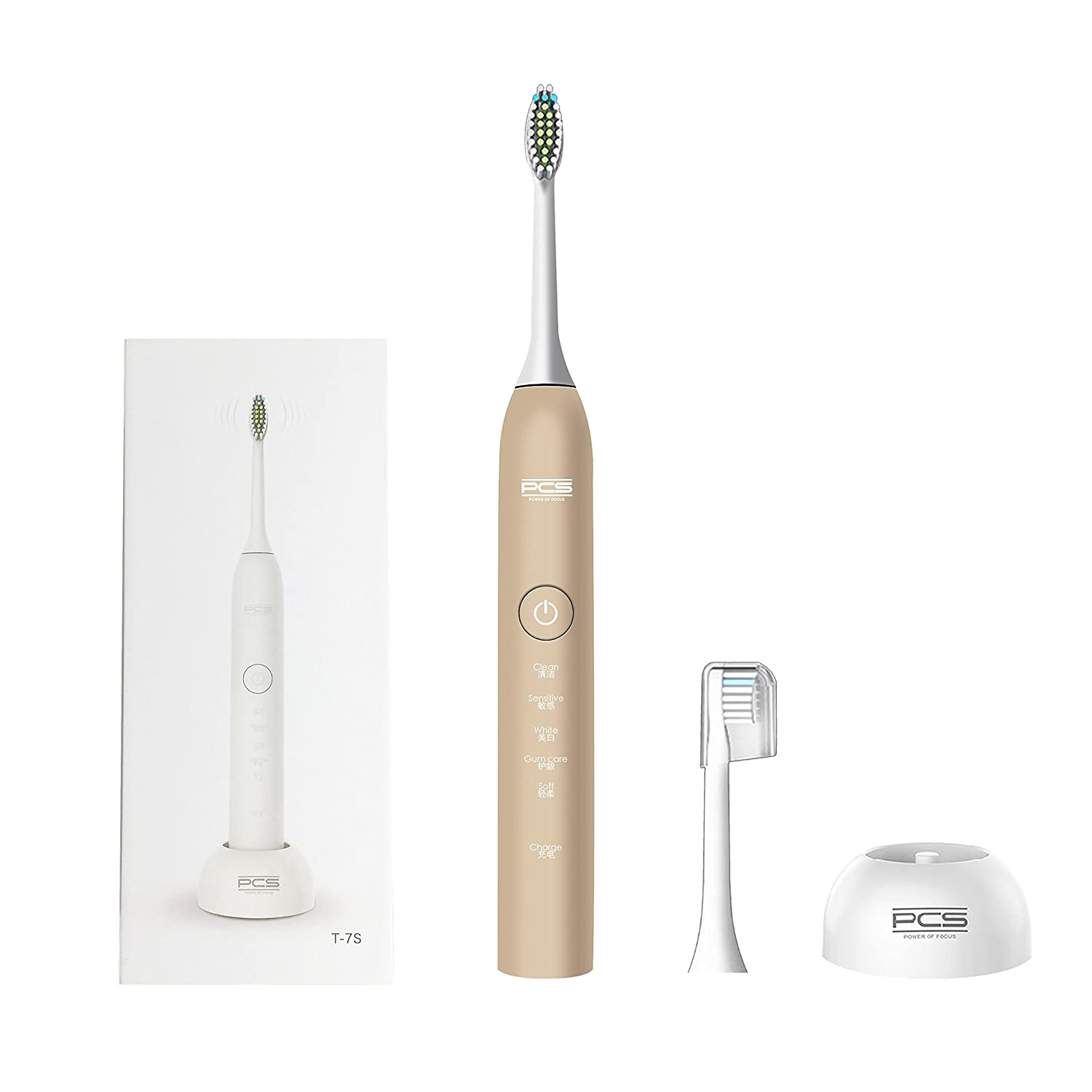 PCS Professional Sonic Electric Toothbrush Wireless Rechargeable Battery 5 Brushing Mode Last for 30 Days with Replacement Heads (Rose Gold) ITATOO