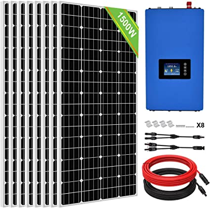 Amazon Com Eco Worthy 1500 Watt 48 Volt Solar Grid Tie Home Complete System With 8 X180w Solar Panel And 2000w Grid Tie Power Inverter To Ac 110v Garden Outdoor