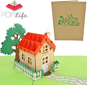 PopLife Family House 3D Pop Up Card for All Occasions - House Warming Gift, Realtor Gift, New House Card - Perfect for Mailing - Mothers Day, Housewarming Party, Closing Gift, Fathers Day, Moving Day