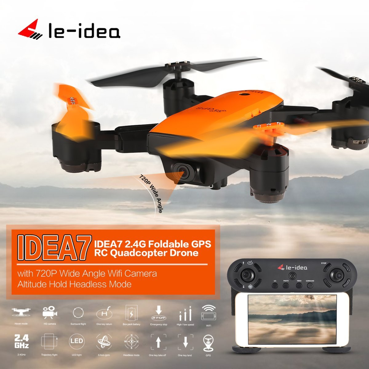 Gugutogo Le-Idee IDEA7 2,4G RC Drone Faltbare Quadcopter mit 720 P Weitwinkel Wifi Kamera GPS Höhe Halten Headless One Key Return (Farbe  Orange)