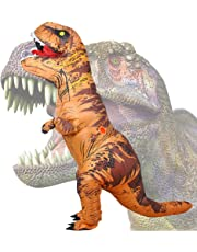 Wild Cheers Inflatable Costume Adult, Inflatable Dinosaur Costume, Fancy Dress, Blow Up T-Rex Costume for Party Gifts Halloween Dark Brown