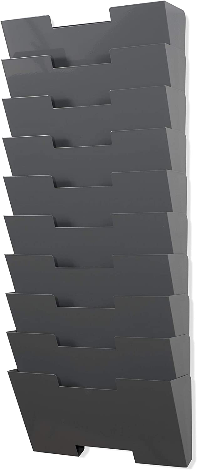 Gray Wall Mount Steel Vertical File Organizer Holder Rack 10 Sectional Modular Design Wider Than Letter Size 13 Inch Multi-Purpose Organize Display Magazines Sort Files and Folders