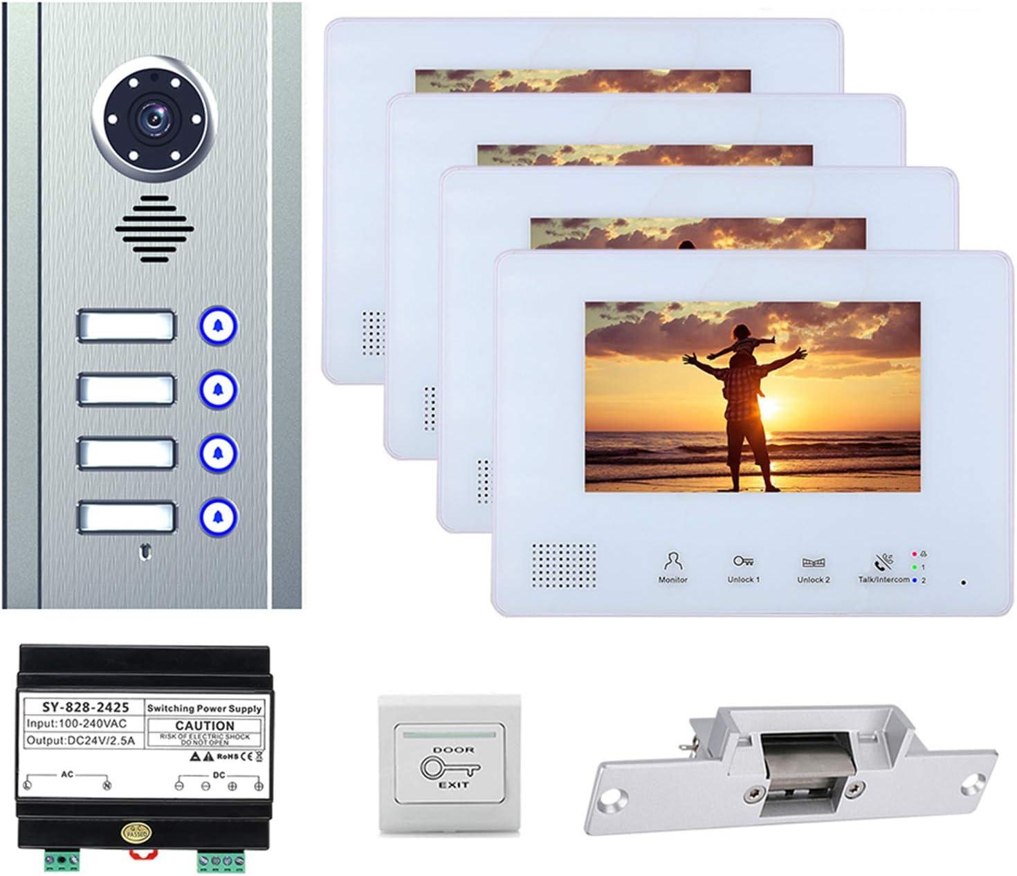 Timbre con video, sistemas de intercomunicación con videoportero para el apartamento en casa, cámara de visión nocturna + monitor de 7 pulgadas + cerradura electrónica,4 units