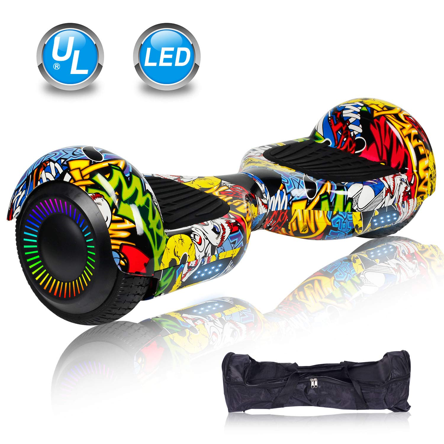 UNI-SUN 6.5'' Hoverboard for Kids, Two Wheel Electric Scooter, Self Balancing Hoverboard with Bluetooth and LED Lights for Adults, UL 2272 Certified Hover Board (Classic X-Graffiti(no Bluetooth))