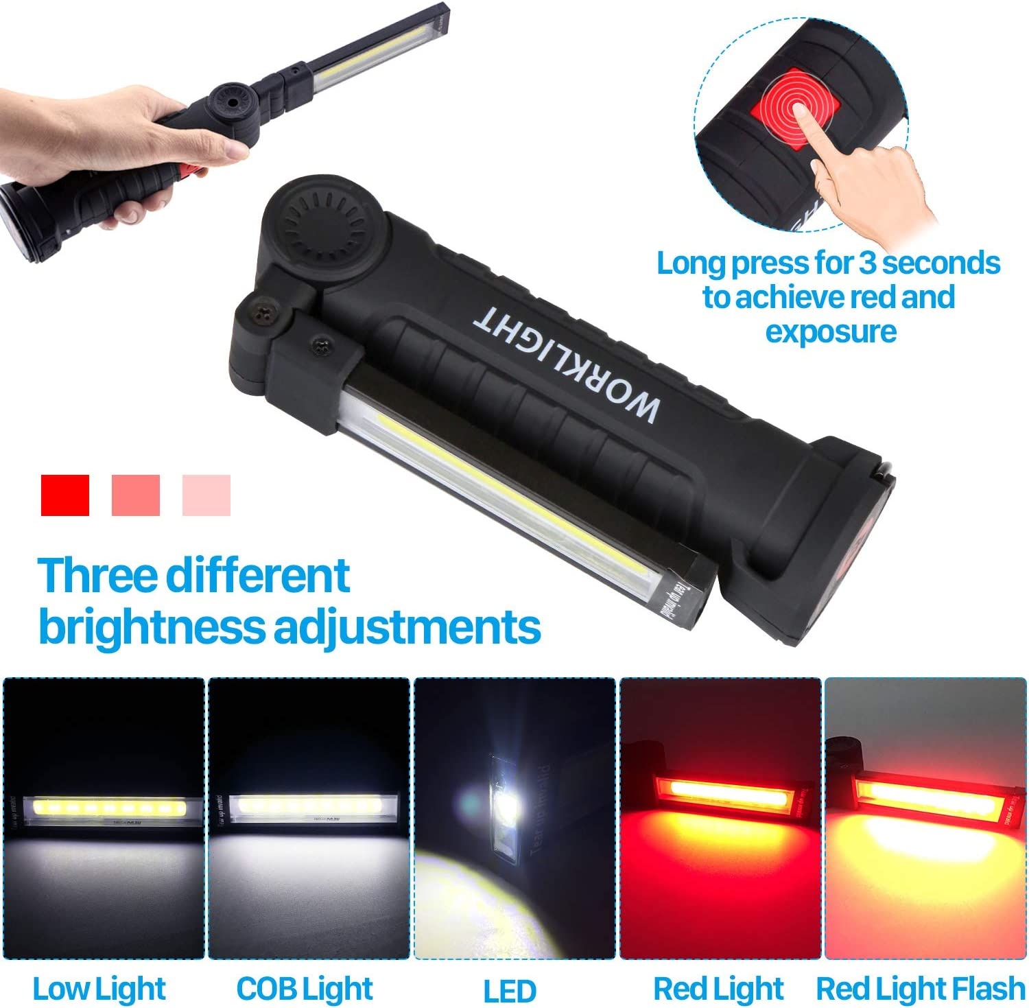 Details about  /2X Rechargeable COB LED Flashlight 360° Rotating Torch Work light Magnet