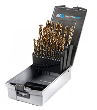 25-tlg HSS Metallbohrer Metall Bohrersatz Spiralbohrer 1-13mm 0,5mm steigend A+