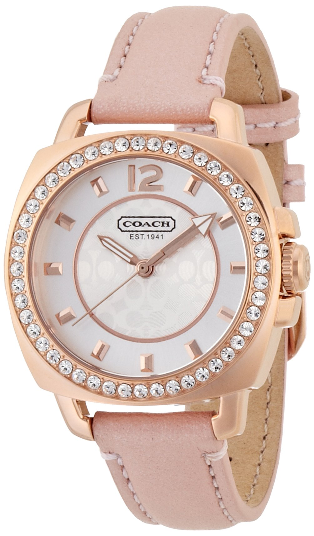 COACH 14501753 MINI BOYFRIEND PINK LEATHER ROSE GOLD CASE WOMEN'S WATCH