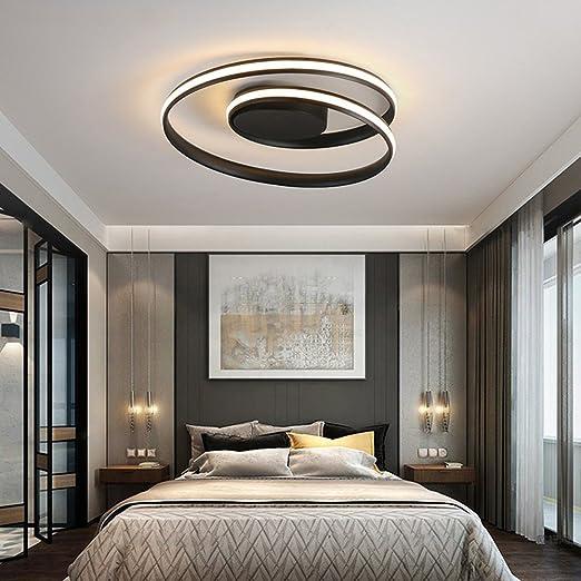 LeohomePlafonnier plafoniere rotondo a led per soggiorno cucina lampade  plafond luci moderne plafond, nero 60cm x 15cm, bianco freddo