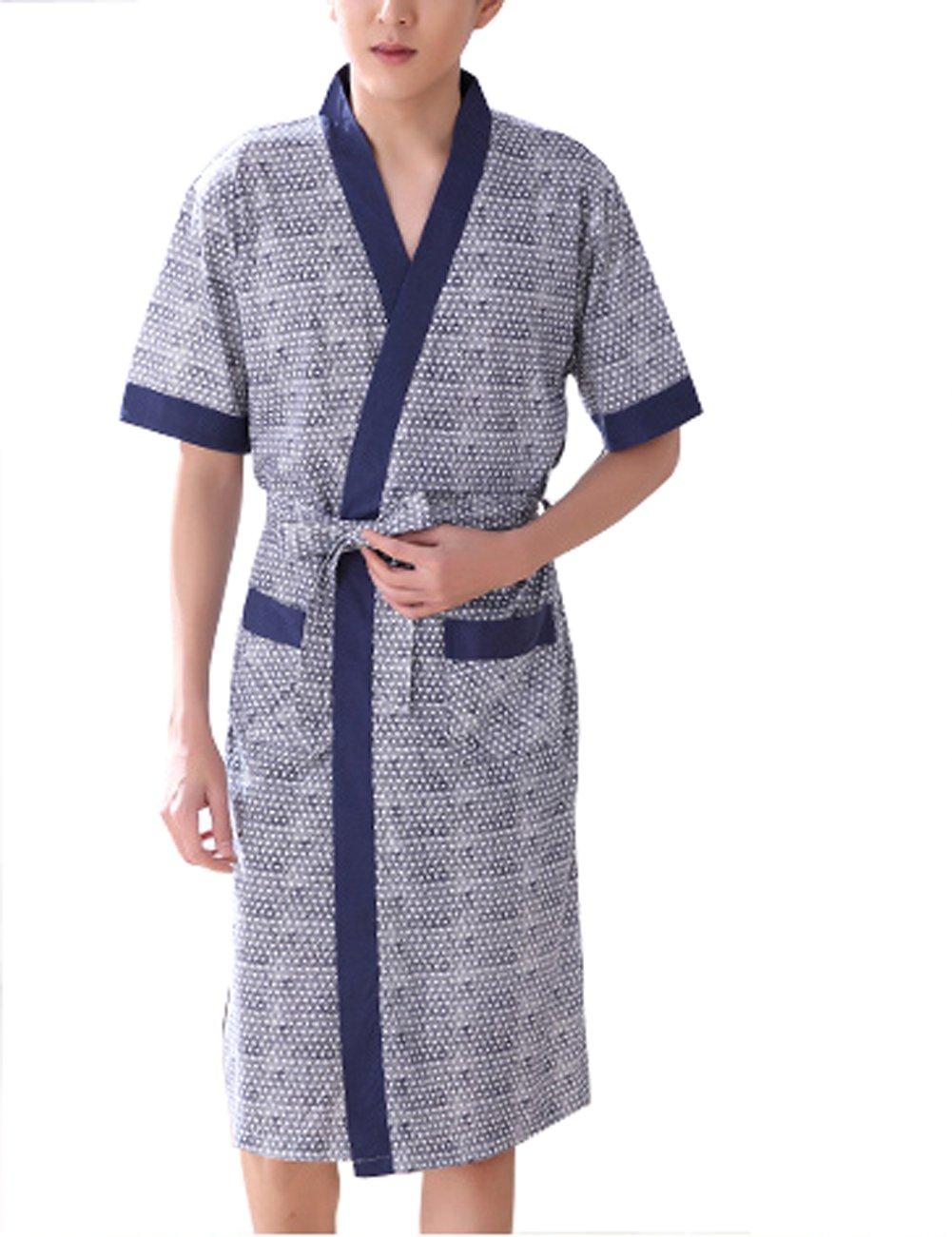 KM Men Shawl-Neck Short Sleeve Cotton Bathrobe Summer Long Loungewear (White dots, XXL)