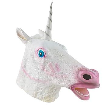 The Twiddlers Máscara de Cabeza Unicornio de Latex Fiestas de Disfraces de Halloween - Eventos -