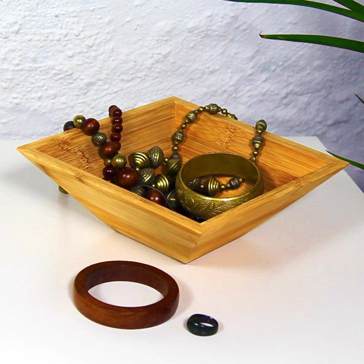 Relaxdays 10018878 Lote de 3 Cuencos de bamb/ú Distintos tama/ños
