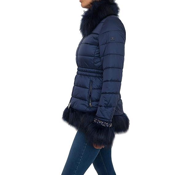 huge discount 09d38 90f78 Liu Jo Piumini Impermeabile L68022T8655 Blue Size:42: Amazon ...