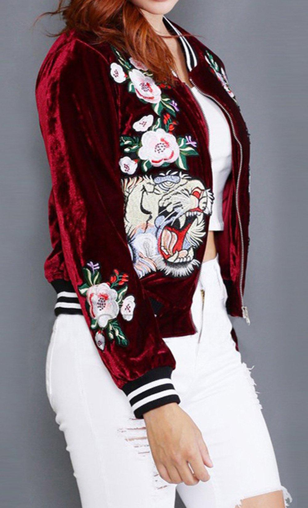 Farktop Women's Embroidery Patch Velvet Classic Biker Quilted Bomber Flight Jacket,Jacket-red,Large by Farktop (Image #5)
