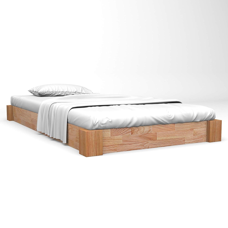vidaXL Eiche Massiv Bettgestell 120x200 cm Bettrahmen Einzelbett Holzbett Bett