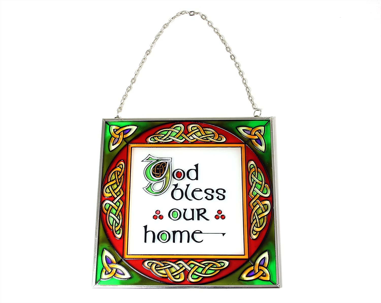 'God Bless Our Home' Celtic Stained Glass Suncatcher Window Hang Royal Tara