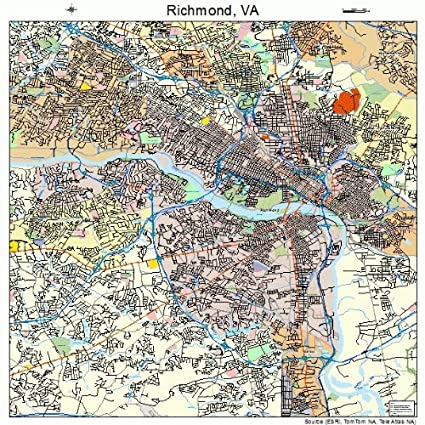 Map Of Richmond Va Amazon.com: Large Street & Road Map of Richmond, Virginia VA  Map Of Richmond Va