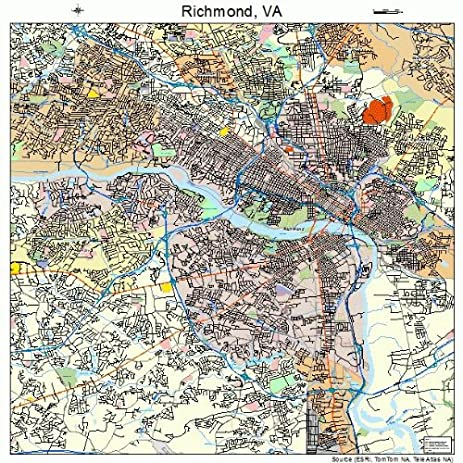 Amazoncom Large Street Road Map of Richmond Virginia VA