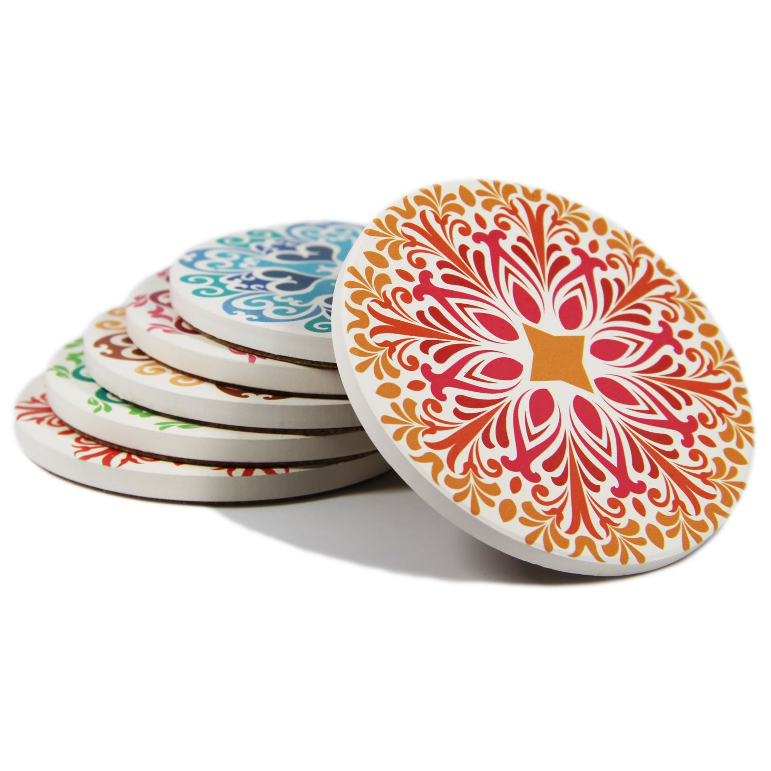 Coasters Set of 6 Absorbent Stone Coaster for Drinks - Desktop Protection Prevent Furniture Damage - Colorful Mandala Style Tabletop Drink spills Coasters