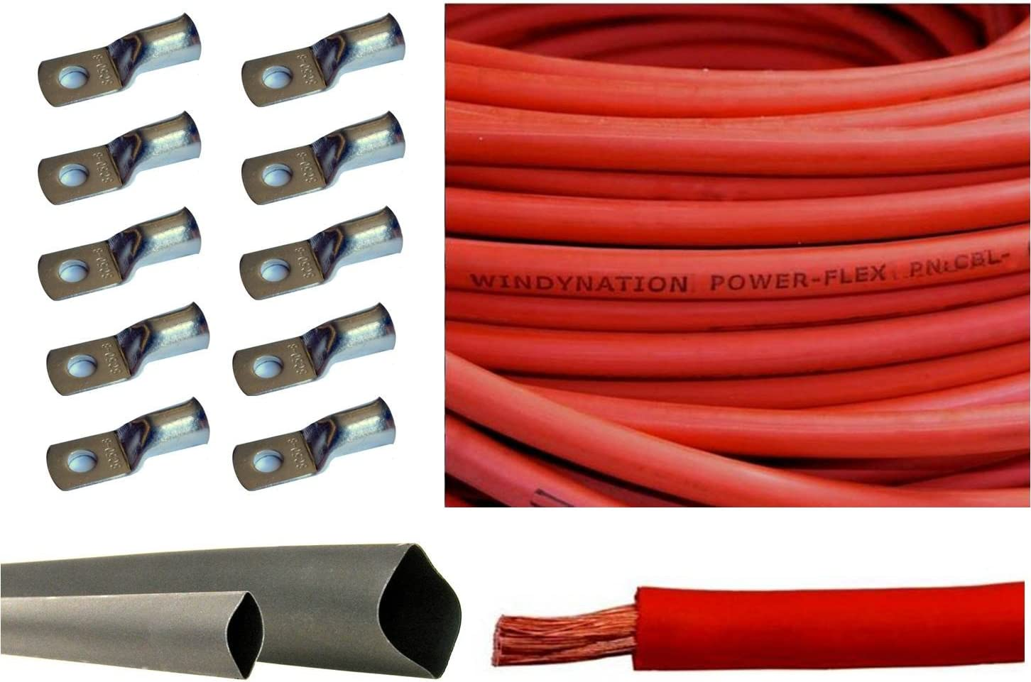 4 Gauge 4 AWG 100 Feet Red Welding Battery Pure Copper Flexible Cable Wire Inverter RV Car Solar by WindyNation