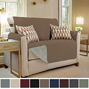 Gorilla Grip Original Slip Resistant Loveseat Slipcover Protector, Seat Width Up to 54 Inch Suede-Like, Patent Pending, 2 Inch Straps, Hook, Furniture Cover for Kids, Dogs, Pets, Love Seat, Latte