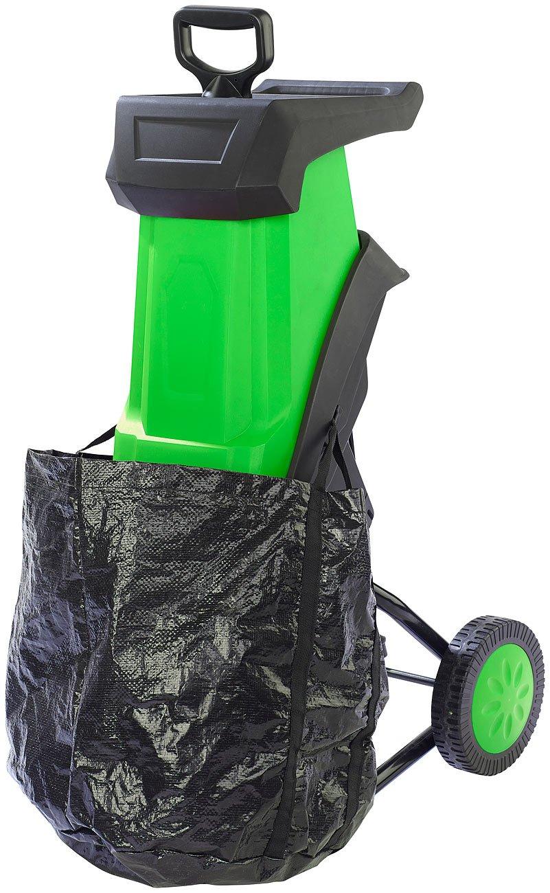 AGT Elektrischer Gartenhäcksler mit Auffangbehälter & Stopfer