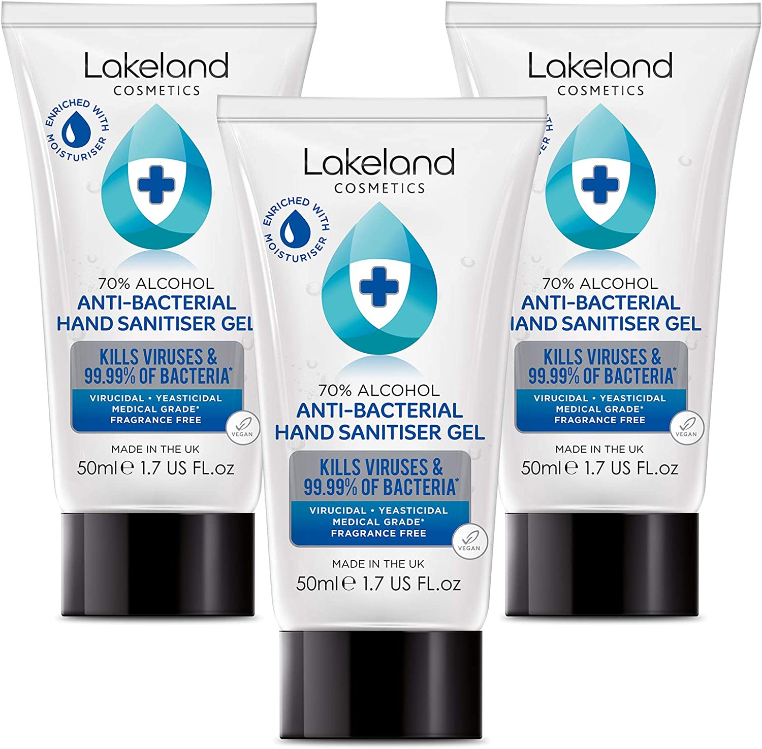 Lakeland Cosmetics 70% Alcohol Moisturising Anti Bacterial Hand Gel 50ml x 3 Pack