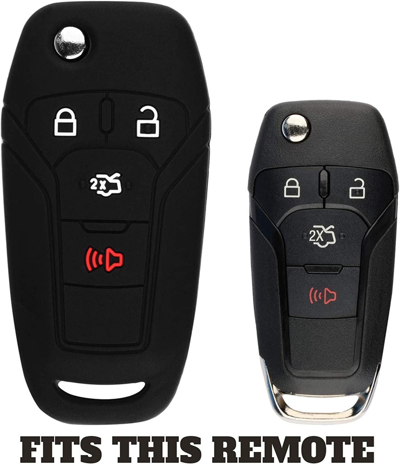 KeyGuardz Keyless Entry Remote Car Flip Key Fob Outer Shell Cover Soft Rubber Case for Ford Fusion N5F-A08TAA
