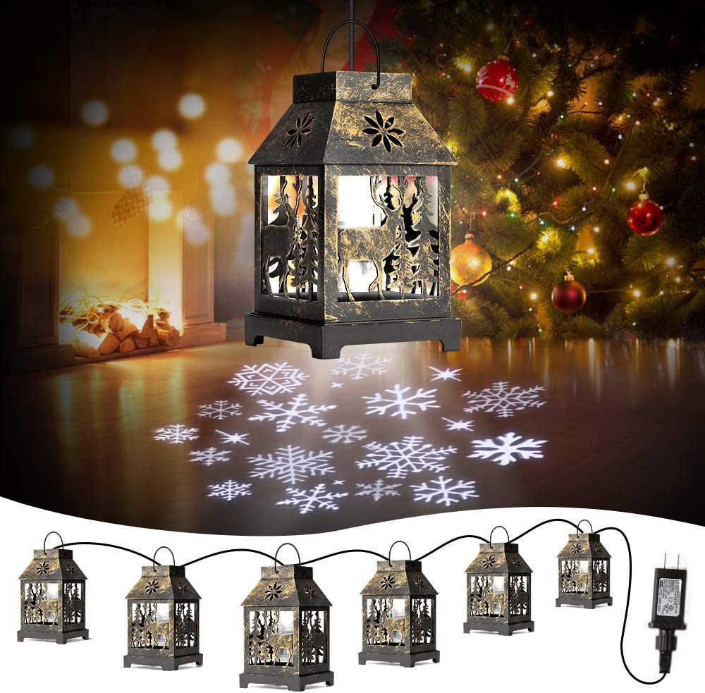 Christmas Snowflake Projector String Lights, HueLiv 22FT 6 in1 Lantern Light with Reindeer for Christmas Decorations Tree, Ceiling, Bedroom, Yard, Garden, Party Decor Lighting Indoor Outdoor
