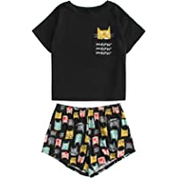 DIDK Womens Cute Cartoon Print Tee and Shorts Pajama Set