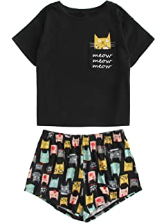2a412f5b89a2 Romwe Women s Cute Boat Neck Crop Top and Frill Hem Shorts Pajama ...