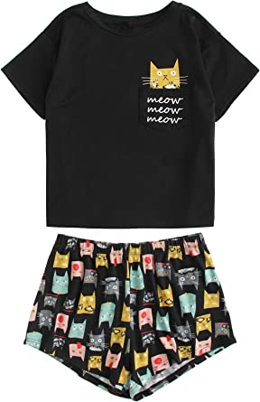 SOLY HUX Pijama Mujer Corto Verano Algodon Set, Pijama Manga Corta ...