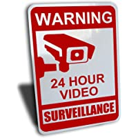 """Warning 24 hour video surveillance sign, aluminum, red, 7"""" by 10"""""""