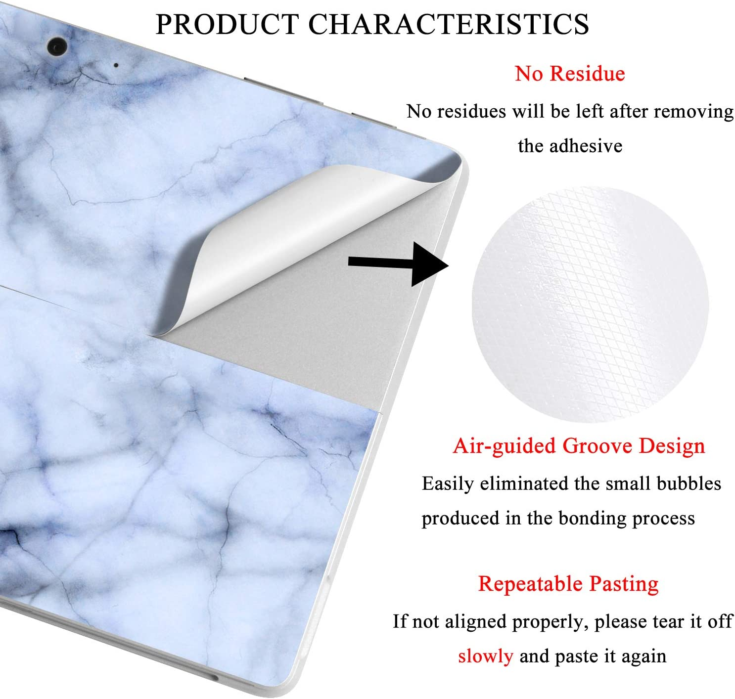 """for Surface Pro 6//5//4, Marble- Deep Blue MasiBloom Laptop Decal Sticker Protective Skin for 12.3/"""" Microsoft Surface Pro 6 2018 Released /& New Surface Pro 2017 /& Pro 4"""