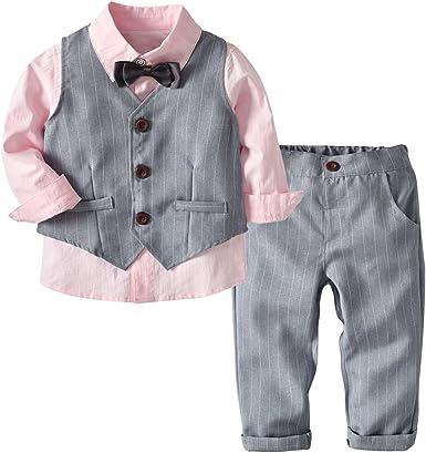 Echinodon [Conjunto de ropa para niño festivo] Camisa con pajarita + chaleco + pantalones para niños pequeños Gentleman Set Baby Bautizo Traje