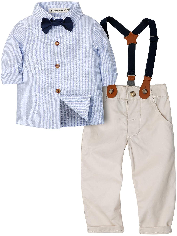 e6101b9ed ZOEREA 2 Piezas Conjunto de Ropa de Bebé Niño Pantalones + Camisa de Rayas  Pajarita Negra Conjunto de Traje de Caballero para Niños  Amazon.es  Ropa y  ...