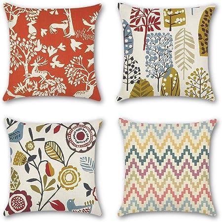 JOTOM 4 Pack Funda de Almohada para Cojín Lino y Algodón Cuadradas,Decorativas para Sofa,Cama,Silla 45 x 45 cm (Flor Tropical): Amazon.es: Hogar