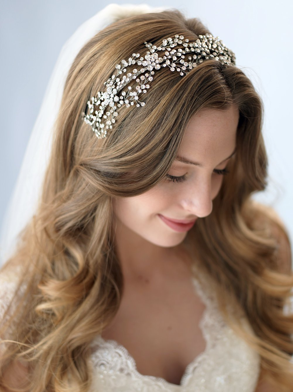 USABride Rhinestone Floral and Vine Bridal Headband Nature Inspired Wedding Headpiece 3228