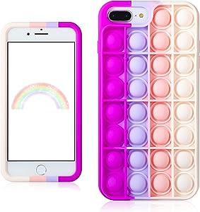 Trendy Fun for iPhone 6 Plus/6S Plus/7 Plus/8 Plus Case Silicone Aesthetic Cartoon Funny Fidget Stylish Unique Designer Fun Cover Cases for Boys Girls Women Blue Pink - for iPhone 6/6S/7/8 Plus 5.5