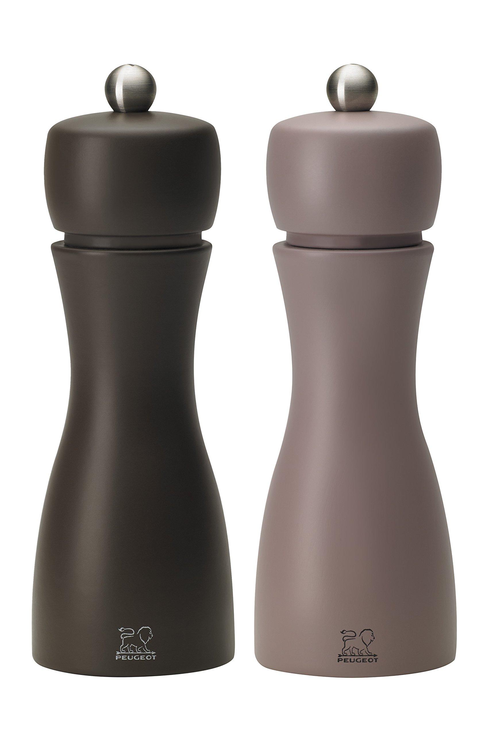 Peugeot Tahiti DUO Winter Salt and Pepper Mills Set 15cm - 6''. 2 Shades of Chestnut Brown