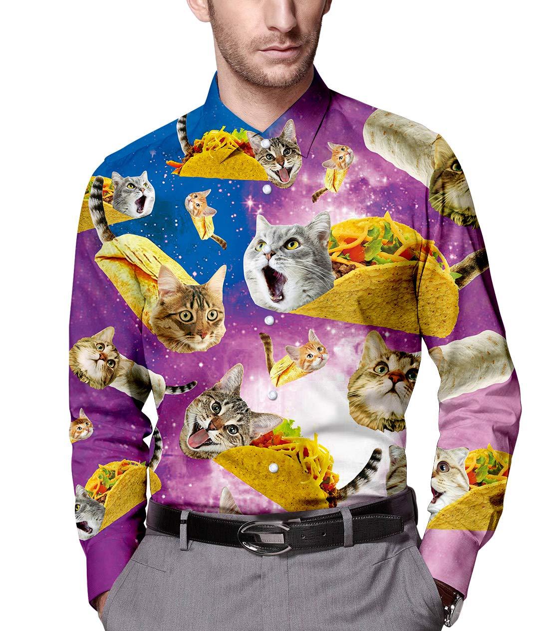 Men's Galaxy Taco Cat Printed Slim Fit Long Sleeve Casual Button Down Dress Shirt M