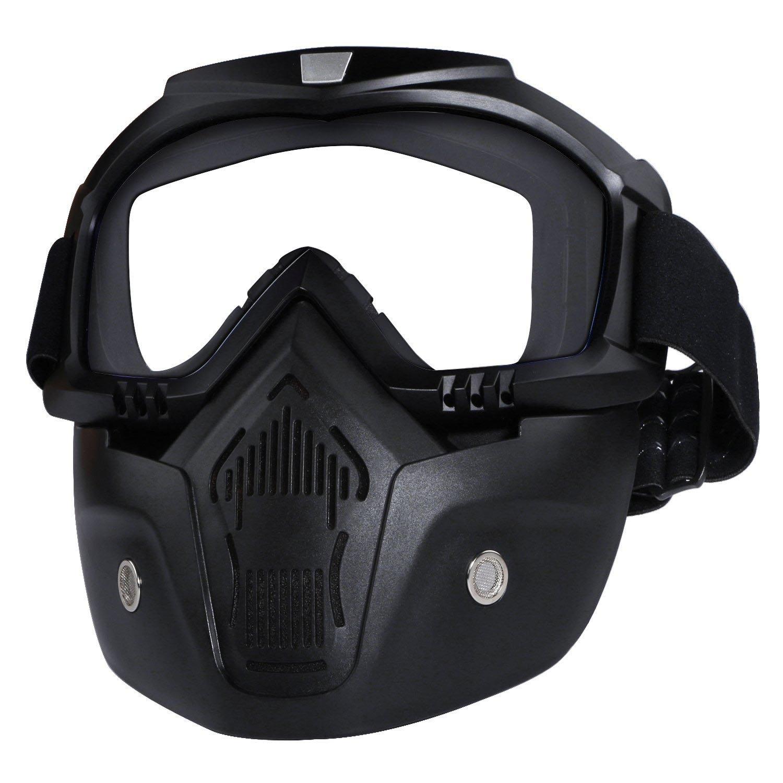 SODIAL Masque de lunettes de moto detachable Harley Style Protect Padding lunettes de soleil casque noir